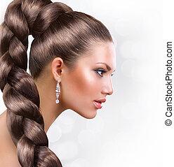 vrouw, haar, hair., bruine , verticaal, gezonde , lang, mooi
