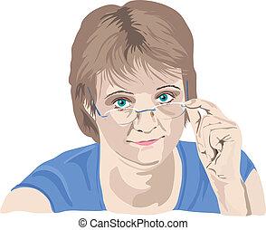 vrouw, haar, op, vingers, het kijken, middelbare leeftijd , bril