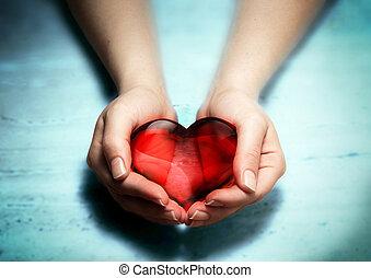 vrouw, hart, handen, rood, glas