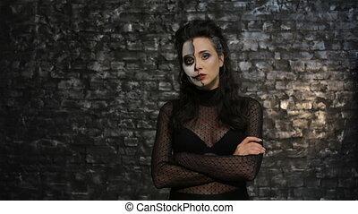 vrouw, het poseren, skelet, make-up