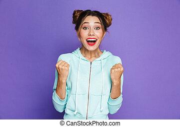 vrouw, het schreeuwen, positief, beeld, twee, dichtklemmen, vrijstaand, broodjes, studio, achtergrond, viooltje, op, vuisten
