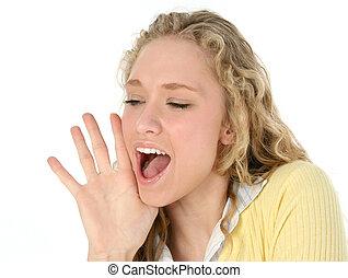 vrouw, het schreeuwen