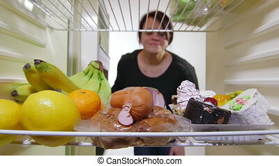 vrouw, hongerige , dieet, lage-calorie