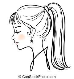 vrouw, illustratie, gezicht, vector, mooi