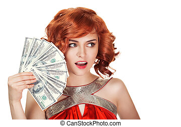 vrouw, isolated., dollars, haar, vasthouden, hand., rood