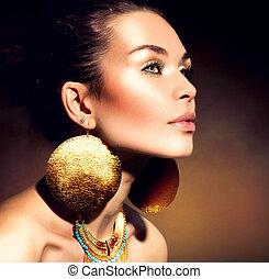 vrouw, jewels., mode, portrait., makeup, gouden, modieus