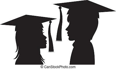 vrouw, jonge, afgestudeerdeen, man
