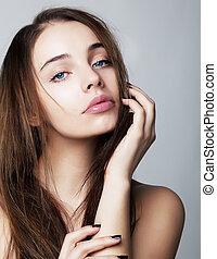 vrouw, -, jonge, concept, closeup, verticaal, gezondheid, mooi en gracieus