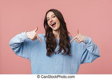 vrouw, jonge, het glimlachen, vingers, zichzelf, beeld, aantrekkelijk, wijzende