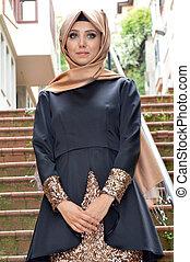 vrouw, jonge, moslim