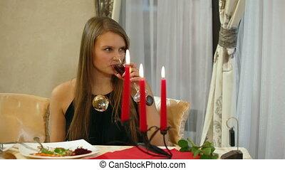 vrouw, jonge, restaurant