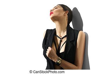 vrouw, jonge, vrijstaand, zwarte achtergrond, verticaal, sexy, witte , kleren