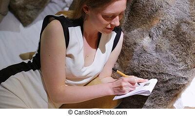 vrouw, jonge, writing.