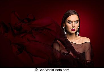 vrouw, juwelen, makeup, elegant, mode, verticaal, model