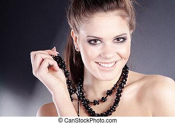vrouw, juwelen, mooi
