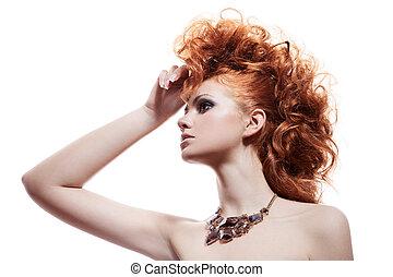 vrouw, juwelen, vrijstaand, mode, luxe, verticaal