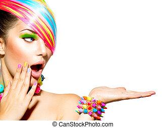 vrouw, kleurrijke, haar, beauty, makeup, spijkers, accessoires