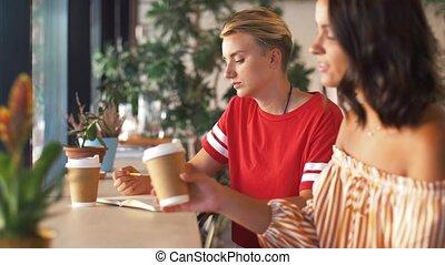 vrouw, koffiehuis, tekening, vriend, jonge