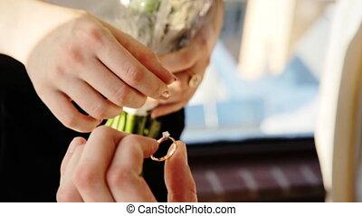 vrouw, leven, vrouw, both., romantische, zeer, gezegd, moment, zijn, worden, ja, voorstel, man