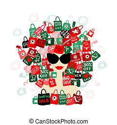 vrouw, liefde, mode, sale!, shoppen , jouw, verticaal, ontwerp, concept