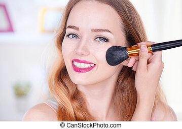 vrouw, makeup, aan het dienen, jonge, beauty