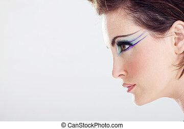 vrouw, makeup, gezicht