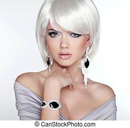 vrouw, makeup., kort, glamour, mode, portrait., blonde , witte , ha, bob