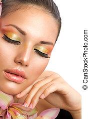 vrouw, makeup, perfect, face., mooi