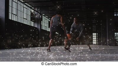 vrouw, man, op, basketbal, spelend, glanzend, animatie, punten, zwevend