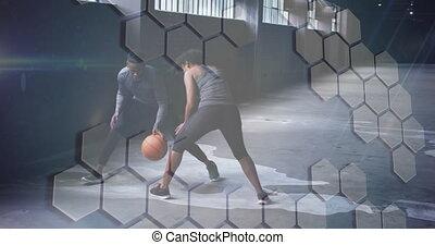 vrouw, man, op, basketbal, spelend, rooster, animatie, witte
