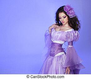 vrouw meisje, dress., mode, beauty, portrait., vervelend, kunst, model, welig, paarse , mooi