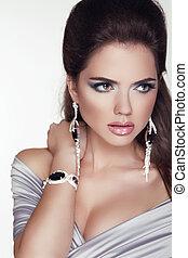 vrouw meisje, mode, beauty, portrait., professioneel, accessories., foto, make-up., juwelen, studio, mooi