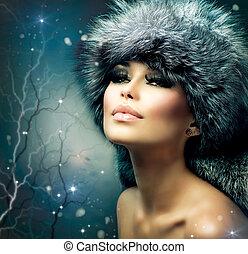 vrouw meisje, portrait., winter, kerstmis hoed, mooi, vacht