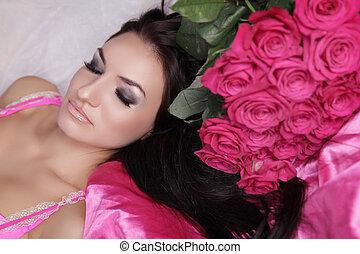 vrouw meisje, professioneel, beauty, perfect, model, rozen, skin., enjoyment., treatment., face., flowers., make-up., mooi