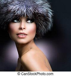 vrouw meisje, winter, fashion., hat., mooi, vacht