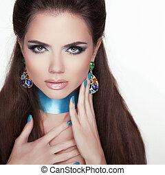 vrouw, mode, beauty, portrait., jewelry., modieus