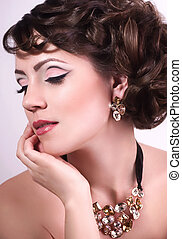 vrouw, mode, juwelen