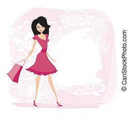 vrouw, mode, shoppen