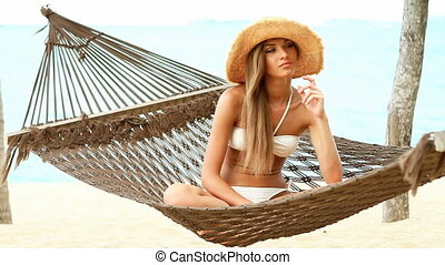 vrouw, mooi, hangmat, zittende