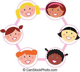 vrouw, multi, -, cultureel, groep, eenheid