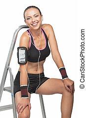 vrouw, muziek luisteren, fitness