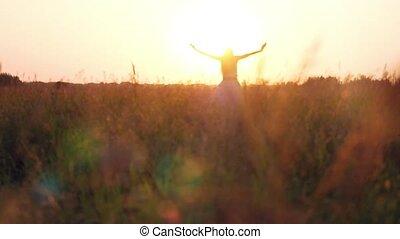 vrouw, natuur, stro, jonge, zonlicht, akker, het genieten van