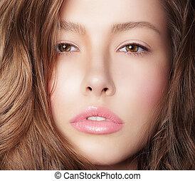 vrouw, natuurlijke , op, verzorgde, schoonmaken, huid, afsluiten, verticaal