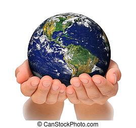 vrouw, noorden, haar, globe, vasthouden, amerika, handen, zuiden