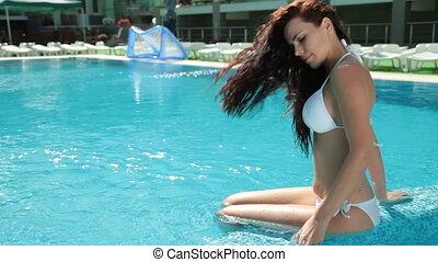 vrouw, ontspant, pool