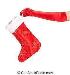 vrouw, op, vrijstaand, hand houdend, witte kerst, kous