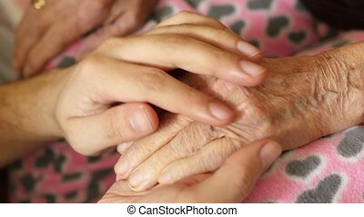 vrouw, oud, kleinzoon, zeer, hand, grootmoeder, vasthouden, hogere mens