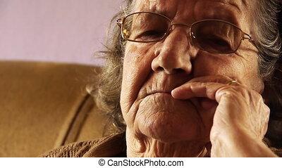 vrouw, oud, op, gezicht, 2, huid, afsluiten, senior, rimpel
