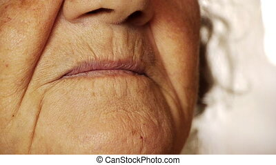 vrouw, oud, op, mond, glimlachen, huid, afsluiten, senior, rimpel