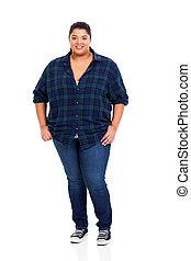 vrouw, overgewicht, jonge, lengte, volle, verticaal